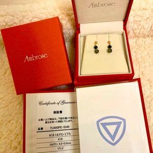 BNWT Ambrose tourmaline solid 18k gold earrings